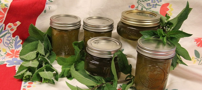 mint jelly and mint leaves