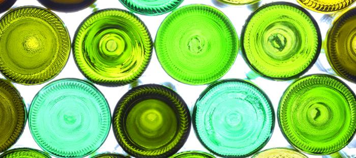 Green Glass Bottles from Below