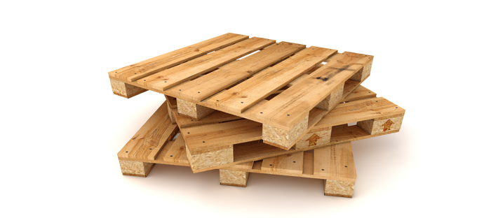 Stack of pallet boards on white background