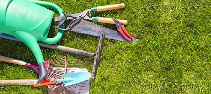 garden tools on grass