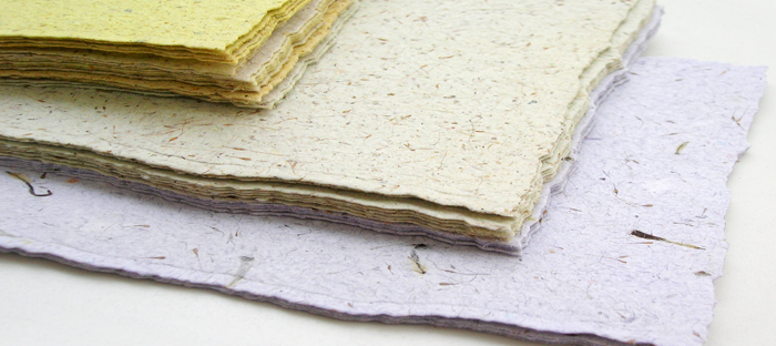 Stacks of different colors of seed paper