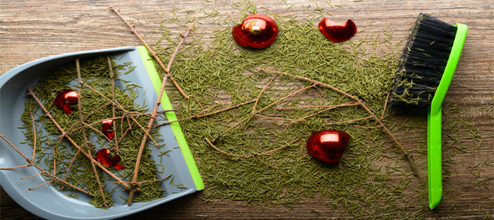 Christmas Tree debris and fallen ornaments swept into dustpan