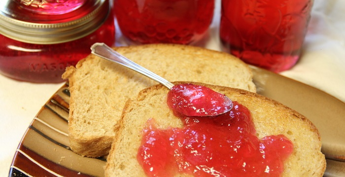 jelly jars and jelly on toast