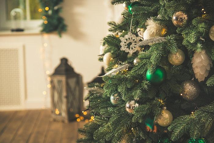Decorated Holiday Tree on Wood Floor
