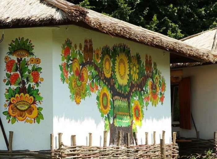 Walls of a decorated cottage