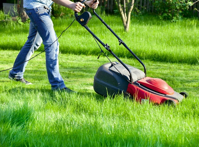 using an electric lawn mower