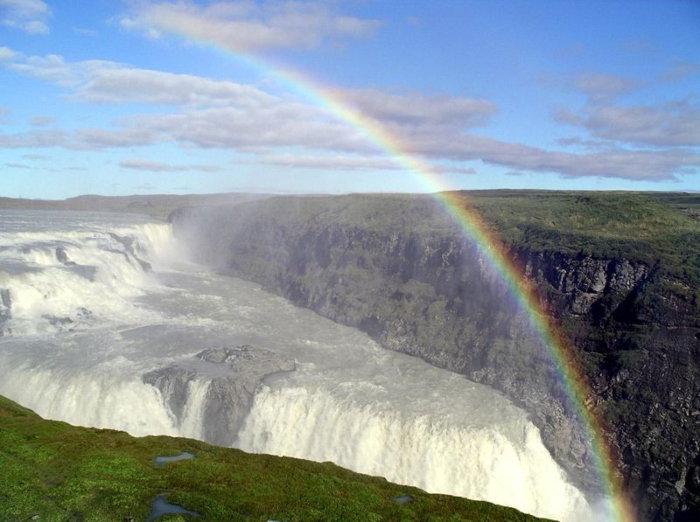 rainbow over glacier