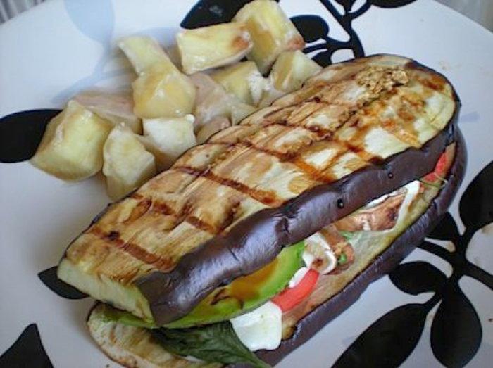 eggplant used as a sandwich bun