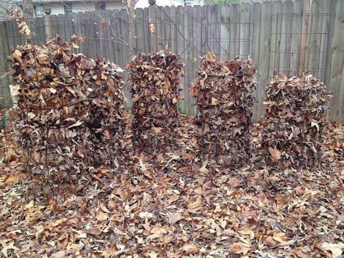 tomato cage leaf composters