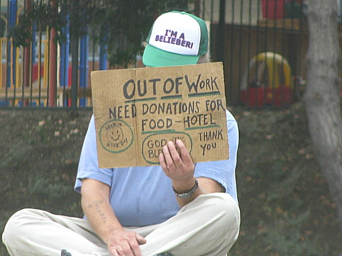 person begging
