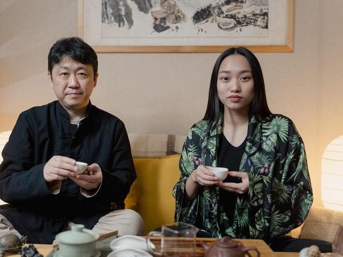 Japanese couple with tea cups
