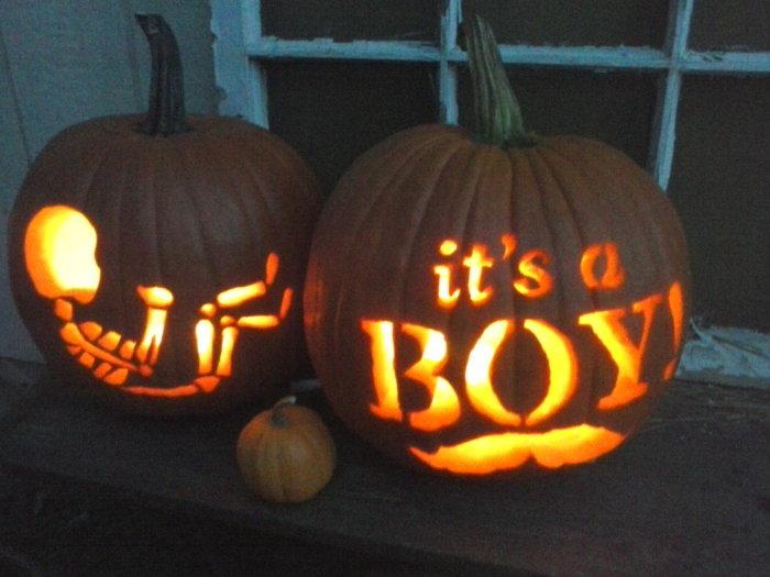 gender reveal carved pumpkins