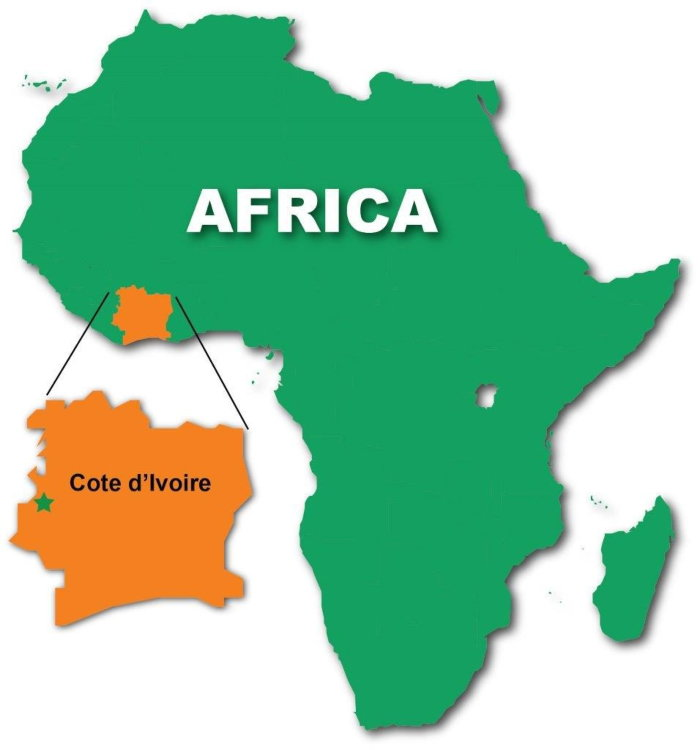map of Africa showing the Ivory Coast