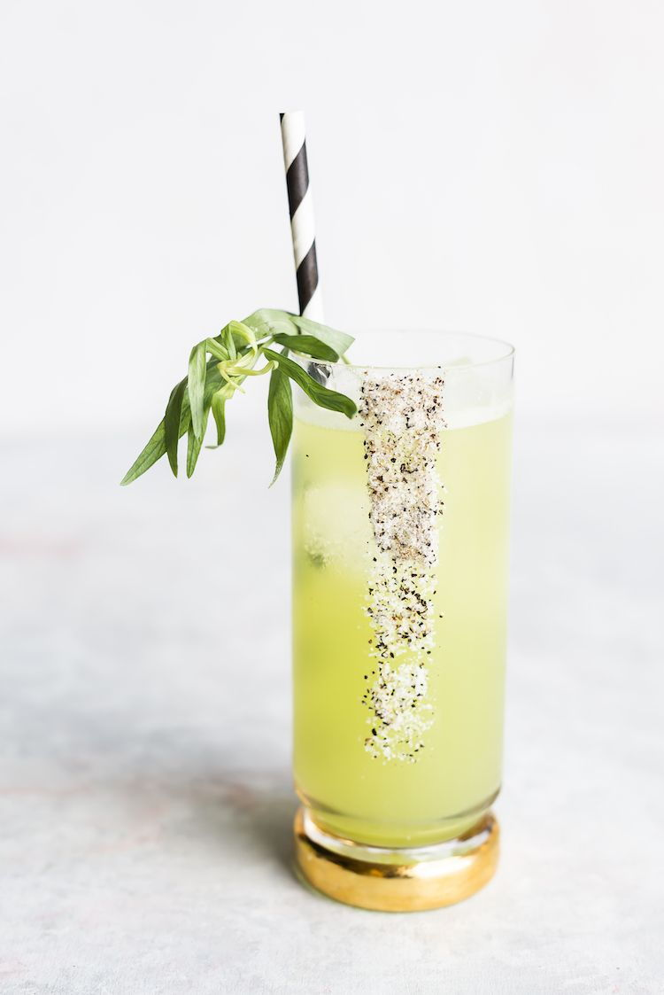 fancy cocktail with tarragon
