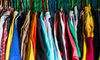 A closet stuffed with colorful clothes