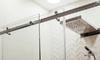 glass sliding shower door with metal track