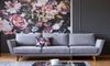 light grey couch against dark grey wall