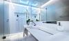 modern bathroom with frameless shower doors