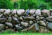 A massive stone wall.