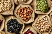 colorful dried beans in bags