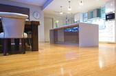 A bamboo floor in a modern home.