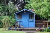 A blue shed surrounded by trees.
