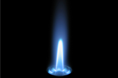 Closeup of a blue, gas pilot light.