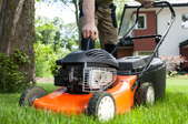 Pulling cord to start a lawn mower