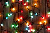 Colorful Christmas lights on the floor