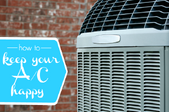 An air conditioner unit against a brick background with the words