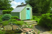 Green shed with metal roof