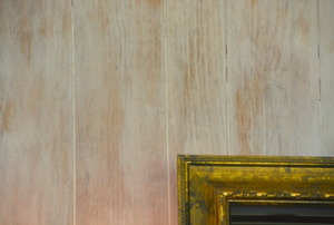 A gold-leaf picture frame against pickled paneling.