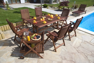 Outdoor teak furniture.