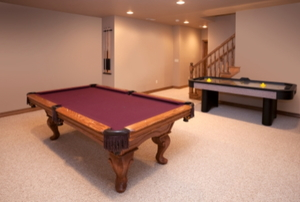 carpeted basement recreation room