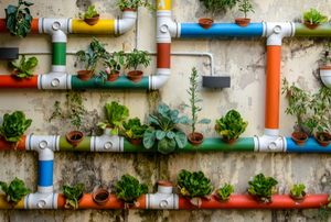 A garden mounted in colorful tubes on a wall