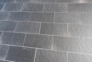 Slate floor tiles.