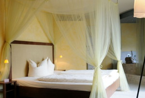 sheer canopy around a bed