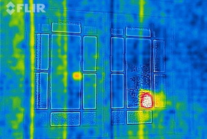 An infrared image of a window with an FLIR camera