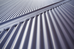 A corrugated metal roof made from sheet metal.