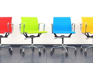 Colorful swivel chairs in a row.