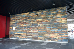 A wood accent wall made from pallets.