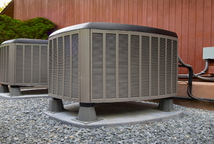 Heat pump units outside a building