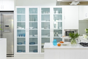 Tall white display cabinet with glass fronts