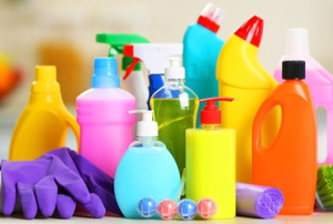 various colorful chemical product bottles