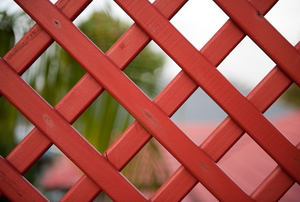 red lattice fence for deck