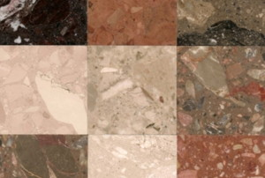 nine-square marble tile pattern
