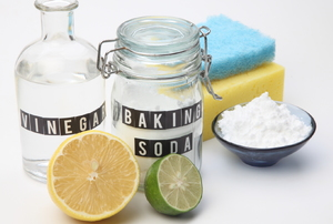 Baking soda and other cleaning supplies.