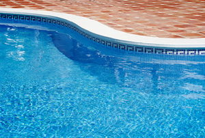 A close-up of a clean, in ground pool during the summer.