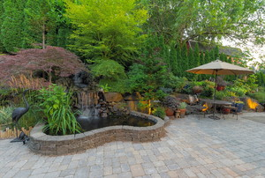 A landscaped patio.