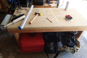 Workbench with tools laying on top